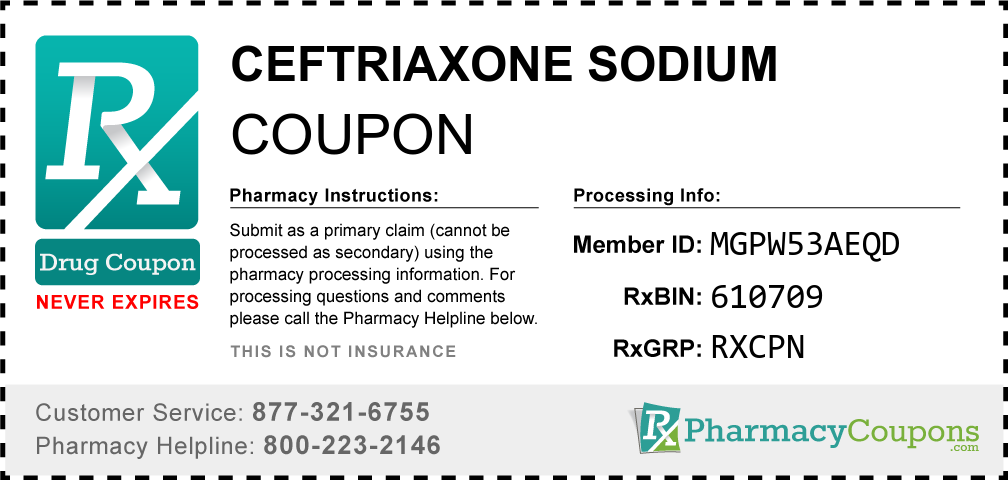Ceftriaxone sodium Prescription Drug Coupon with Pharmacy Savings