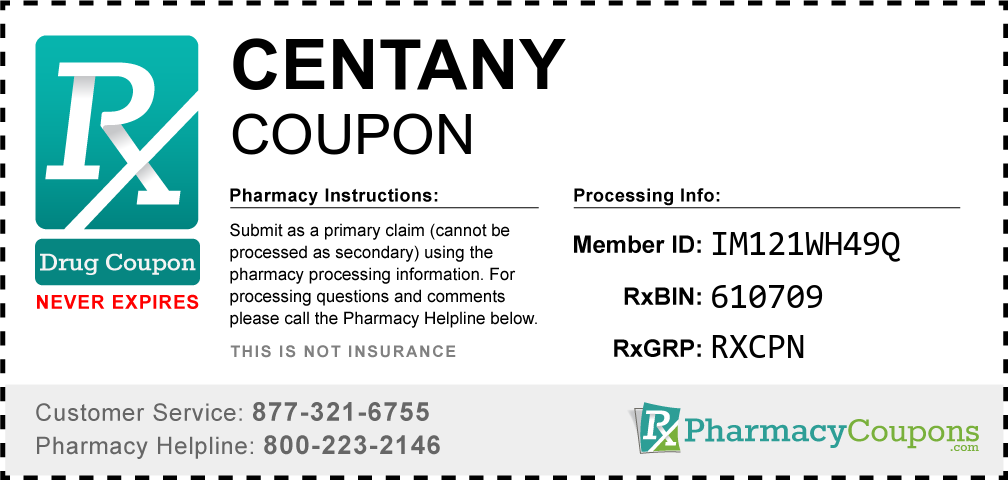 Centany Prescription Drug Coupon with Pharmacy Savings