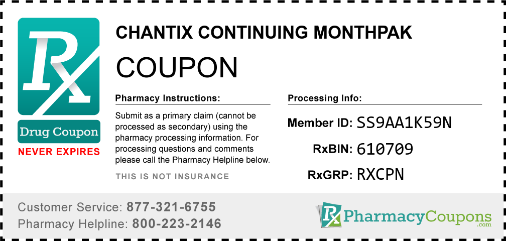 Chantix continuing monthpak Prescription Drug Coupon with Pharmacy Savings