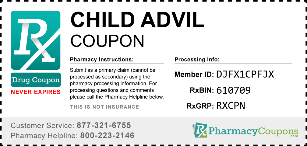 Child advil Prescription Drug Coupon with Pharmacy Savings