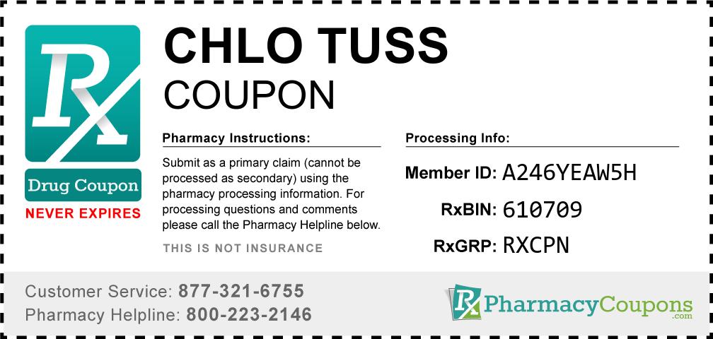 Chlo tuss Prescription Drug Coupon with Pharmacy Savings