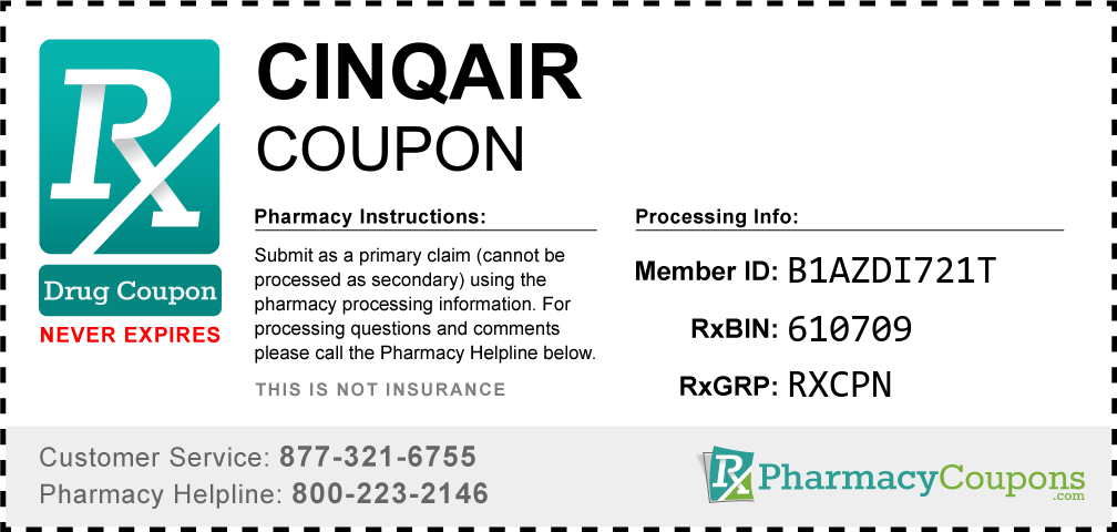 Cinqair Prescription Drug Coupon with Pharmacy Savings