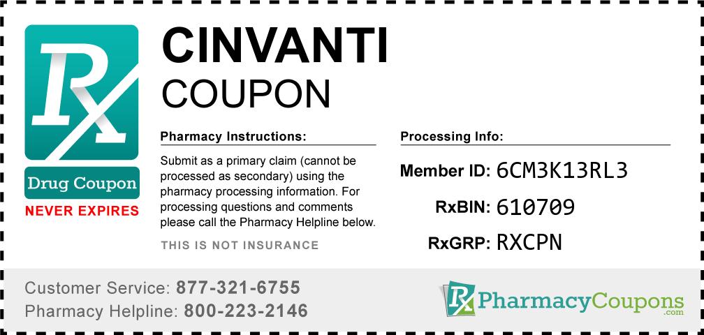 Cinvanti Prescription Drug Coupon with Pharmacy Savings