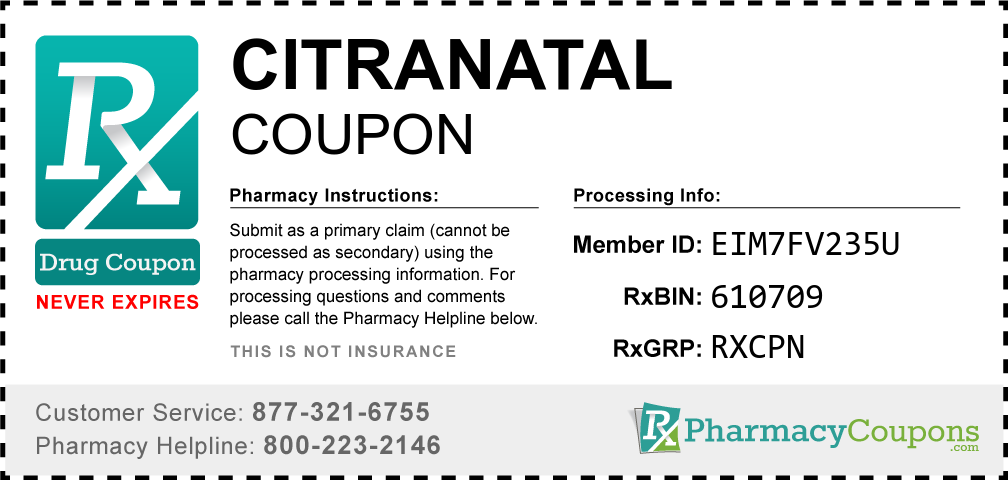 Citranatal Prescription Drug Coupon with Pharmacy Savings