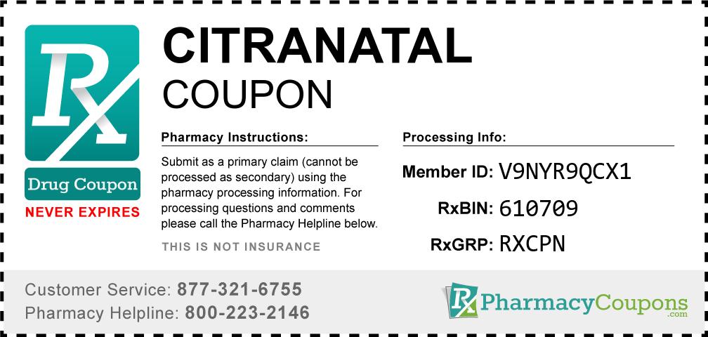 Citranatal Prescription Drug Coupon with Pharmacy Savings