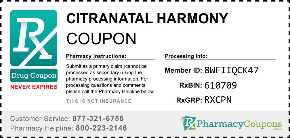 Citranatal harmony Prescription Drug Coupon with Pharmacy Savings