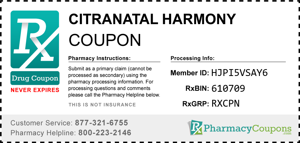 Citranatal harmony Prescription Drug Coupon with Pharmacy Savings