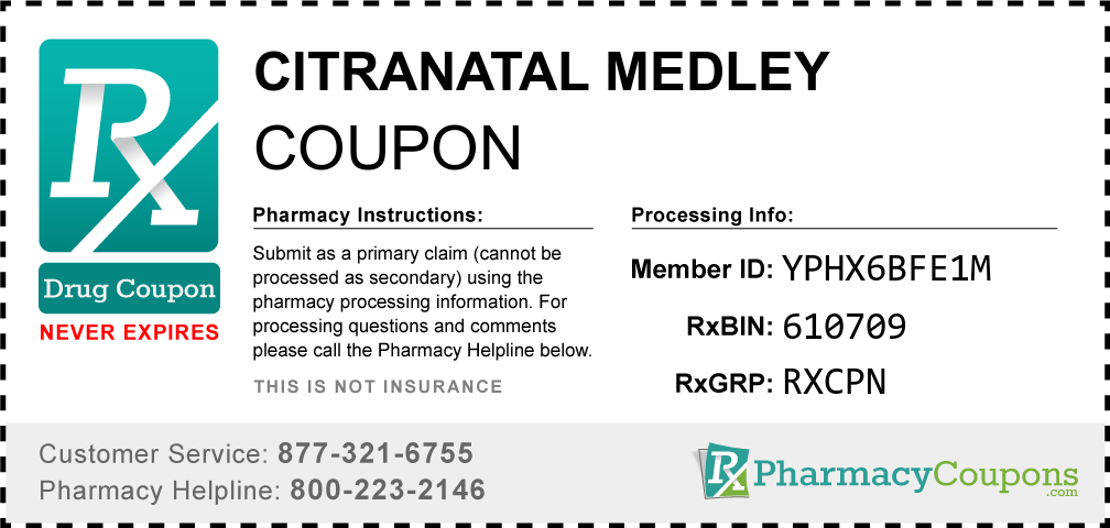 Citranatal medley Prescription Drug Coupon with Pharmacy Savings