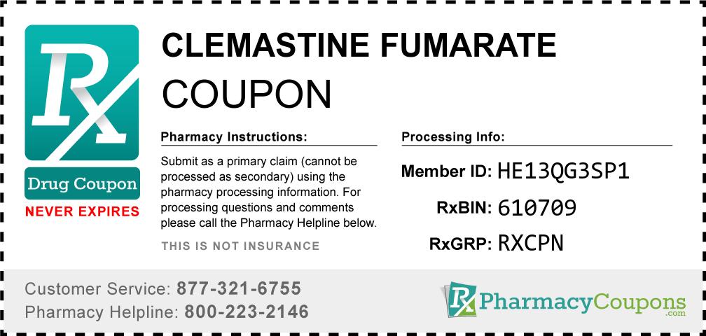 Clemastine fumarate Prescription Drug Coupon with Pharmacy Savings
