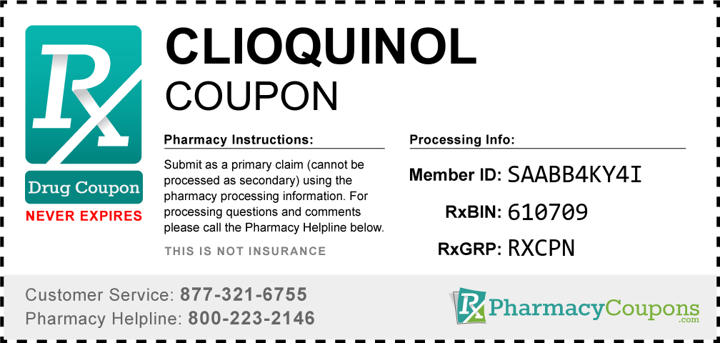 Clioquinol Prescription Drug Coupon with Pharmacy Savings