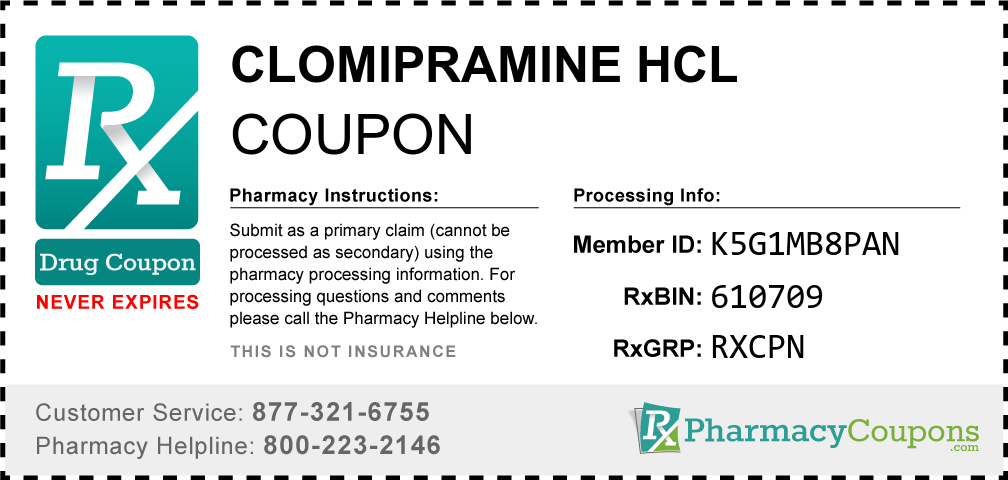 Clomipramine hcl Prescription Drug Coupon with Pharmacy Savings