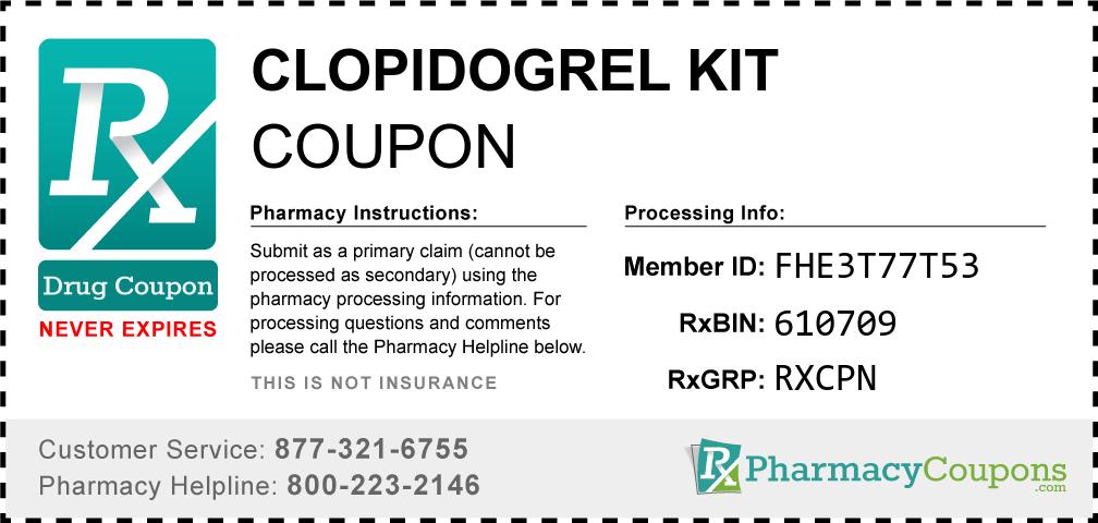 Clopidogrel kit Prescription Drug Coupon with Pharmacy Savings