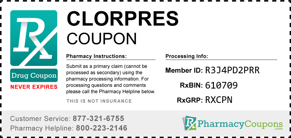 Clorpres Prescription Drug Coupon with Pharmacy Savings