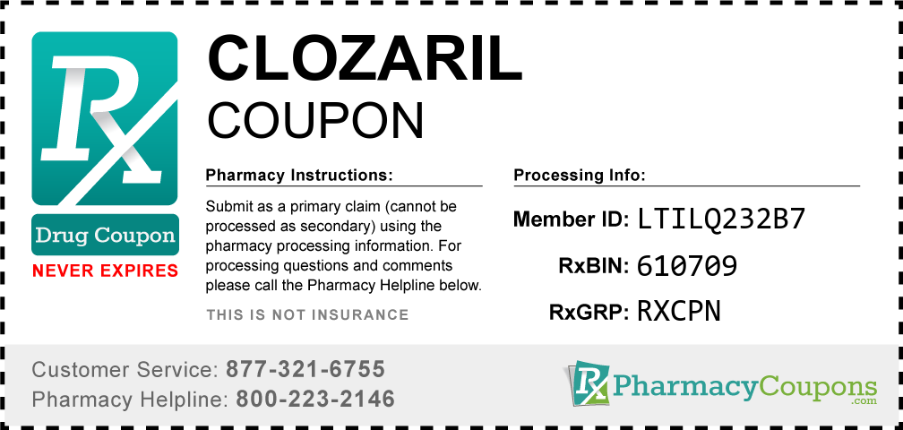 Clozaril Prescription Drug Coupon with Pharmacy Savings
