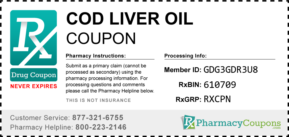 Cod liver oil Prescription Drug Coupon with Pharmacy Savings