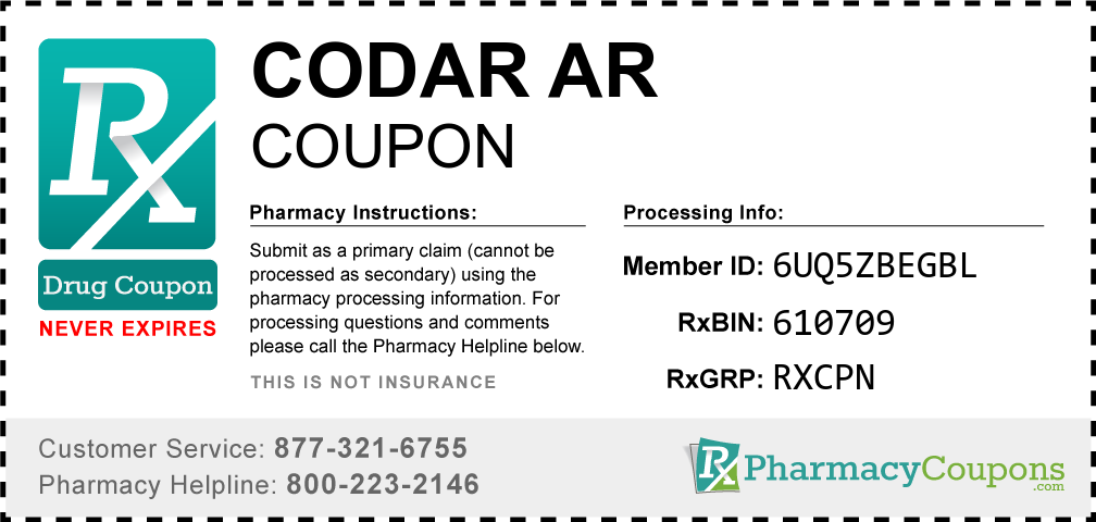 Codar ar Prescription Drug Coupon with Pharmacy Savings