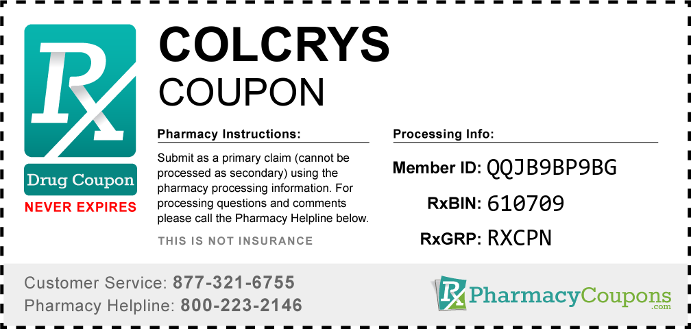 Colcrys Prescription Drug Coupon with Pharmacy Savings