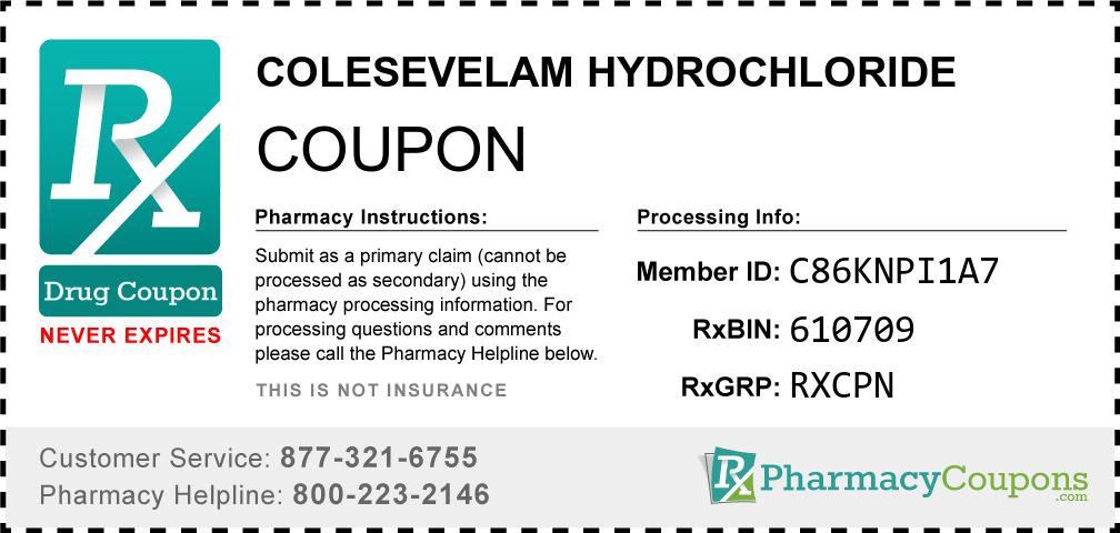 Colesevelam hydrochloride Prescription Drug Coupon with Pharmacy Savings