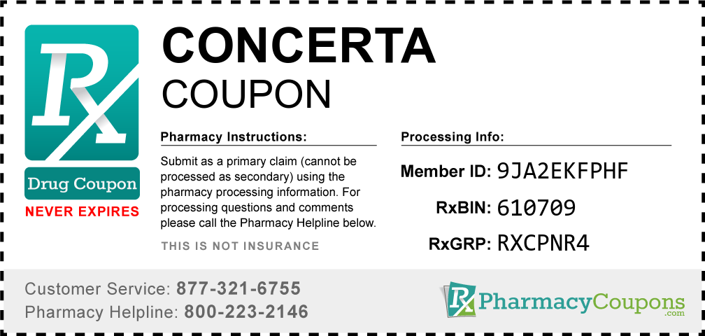 Concerta Prescription Drug Coupon with Pharmacy Savings