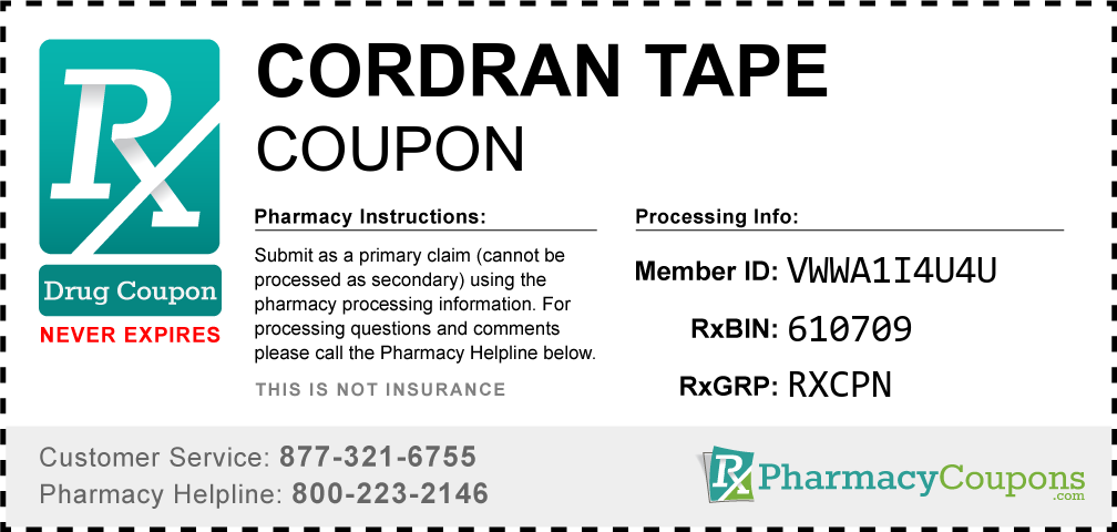 Cordran tape Prescription Drug Coupon with Pharmacy Savings