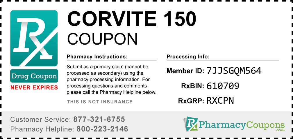 Corvite 150 Prescription Drug Coupon with Pharmacy Savings