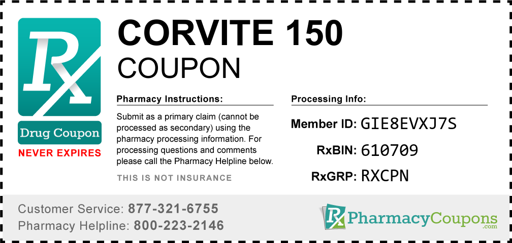 Corvite 150 Prescription Drug Coupon with Pharmacy Savings