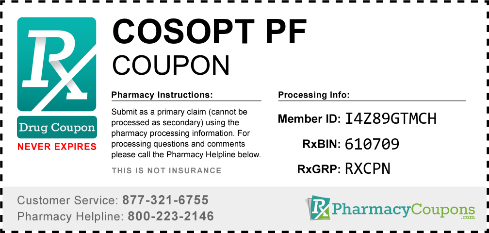 Cosopt pf Prescription Drug Coupon with Pharmacy Savings