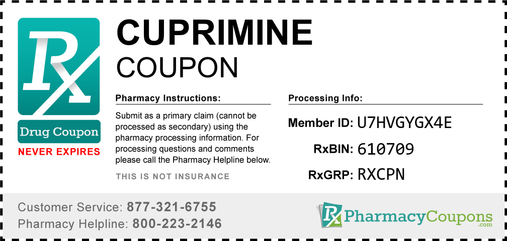 Cuprimine Prescription Drug Coupon with Pharmacy Savings