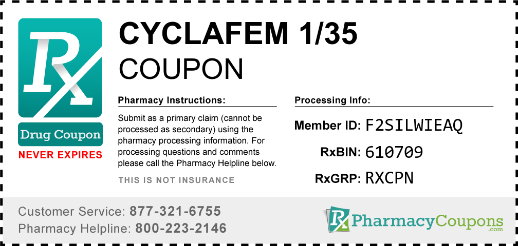 Cyclafem 1/35 Prescription Drug Coupon with Pharmacy Savings