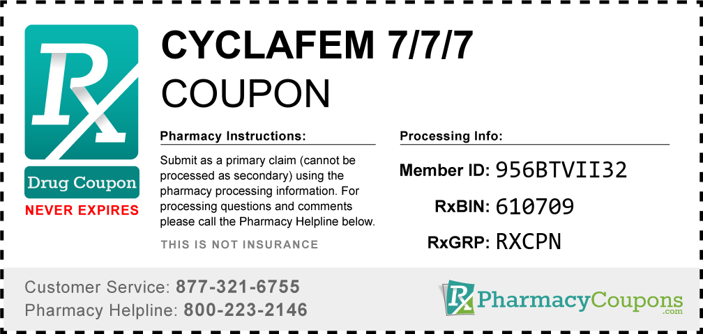 Cyclafem 7/7/7 Prescription Drug Coupon with Pharmacy Savings