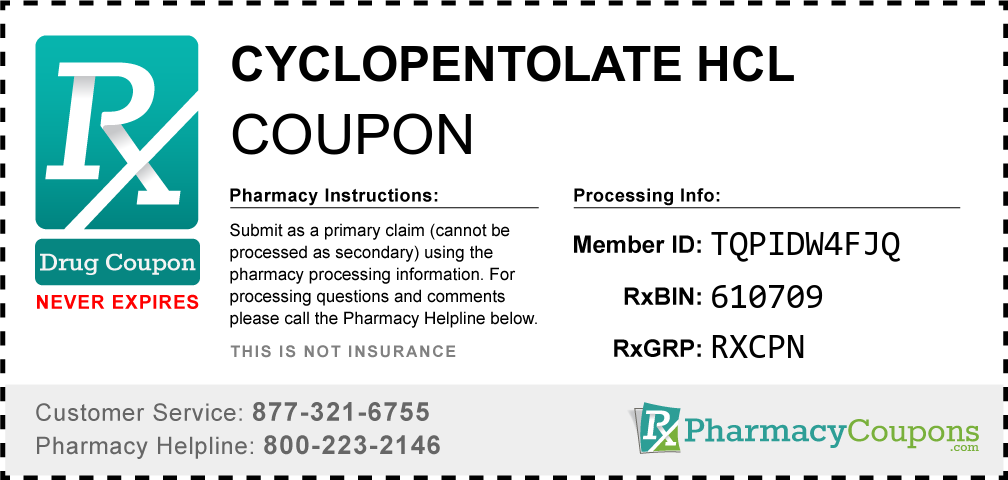 Cyclopentolate hcl Prescription Drug Coupon with Pharmacy Savings