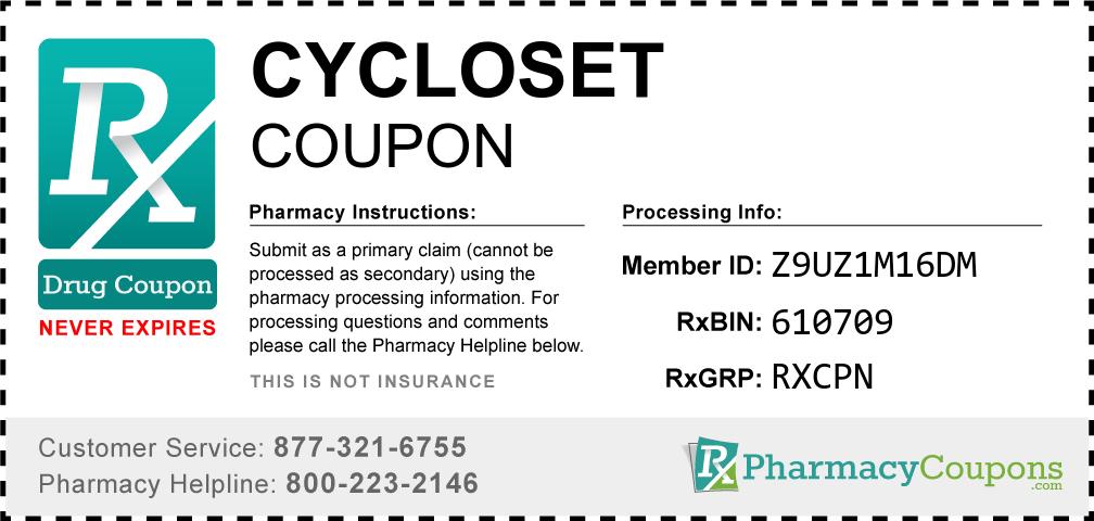 Cycloset Prescription Drug Coupon with Pharmacy Savings