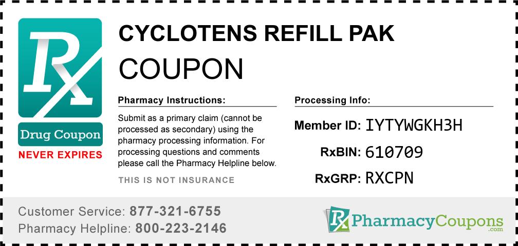 Cyclotens refill pak Prescription Drug Coupon with Pharmacy Savings