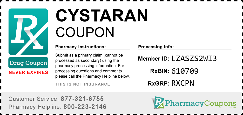 Cystaran Prescription Drug Coupon with Pharmacy Savings
