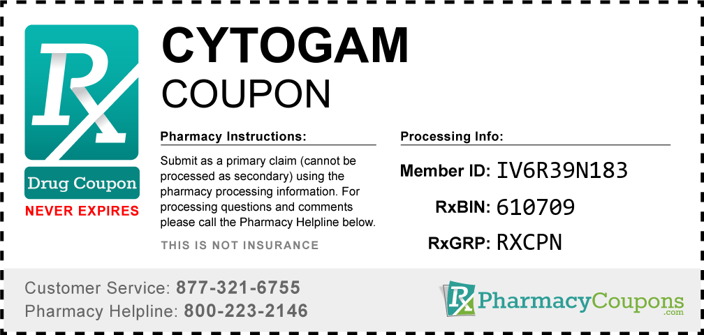 Cytogam Prescription Drug Coupon with Pharmacy Savings