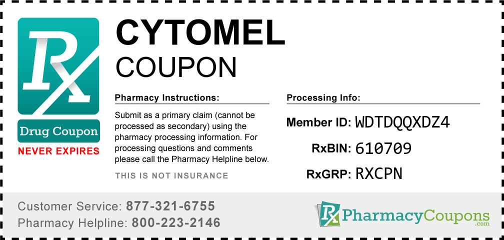 Cytomel Prescription Drug Coupon with Pharmacy Savings