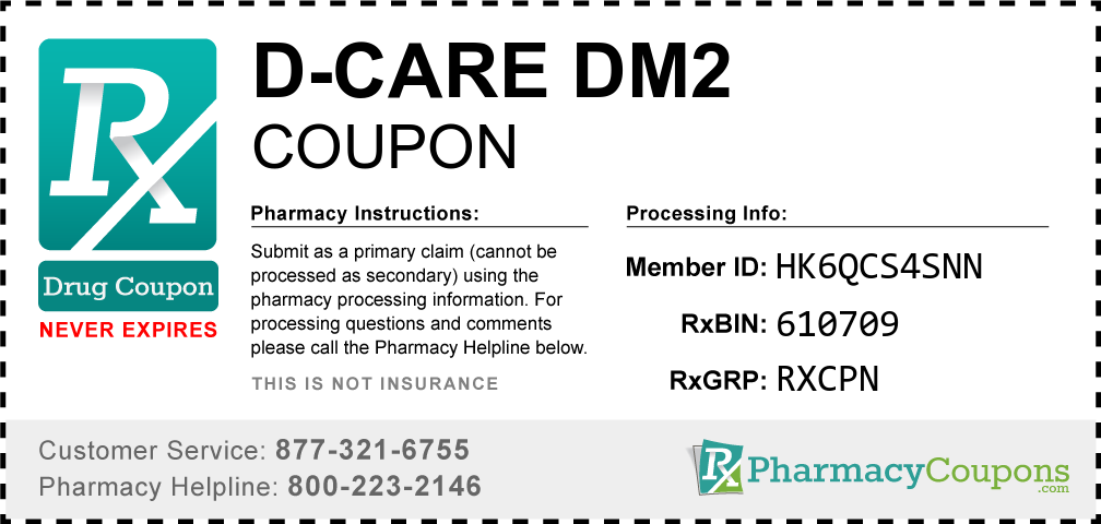 D-care dm2 Prescription Drug Coupon with Pharmacy Savings