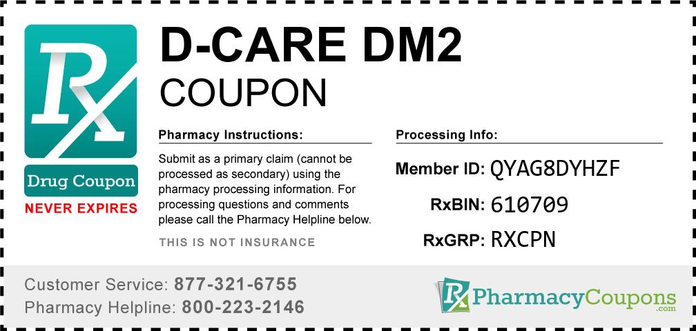 D-care dm2 Prescription Drug Coupon with Pharmacy Savings