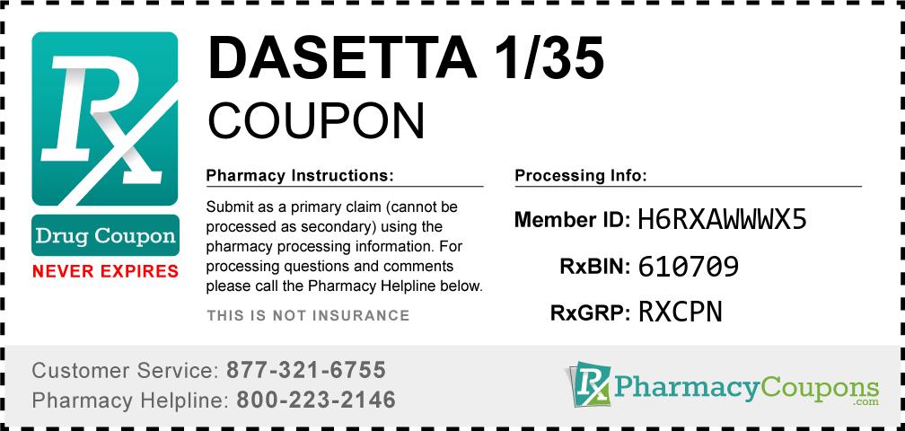 Dasetta 1/35 Prescription Drug Coupon with Pharmacy Savings