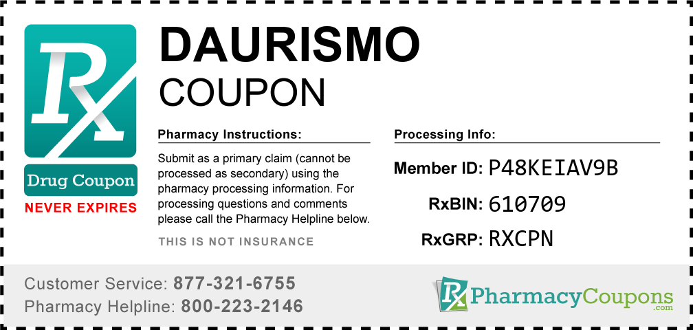 Daurismo Prescription Drug Coupon with Pharmacy Savings