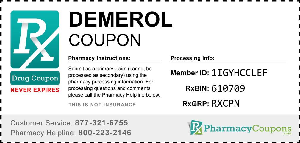 Demerol Prescription Drug Coupon with Pharmacy Savings