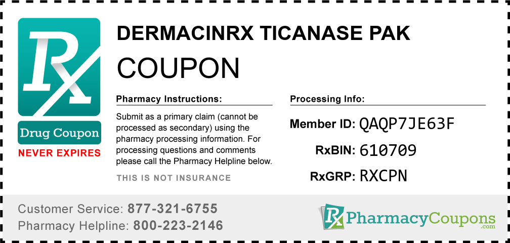 Dermacinrx ticanase pak Prescription Drug Coupon with Pharmacy Savings