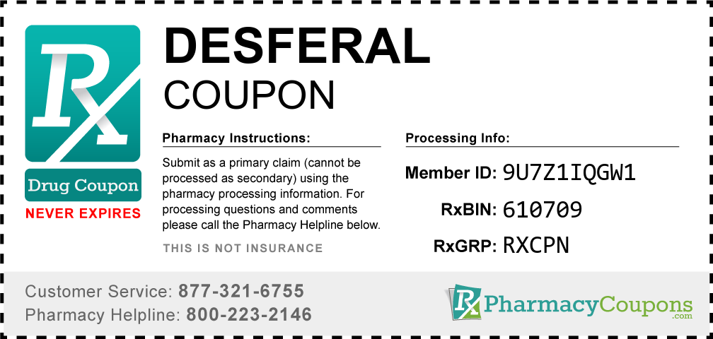 Desferal Prescription Drug Coupon with Pharmacy Savings