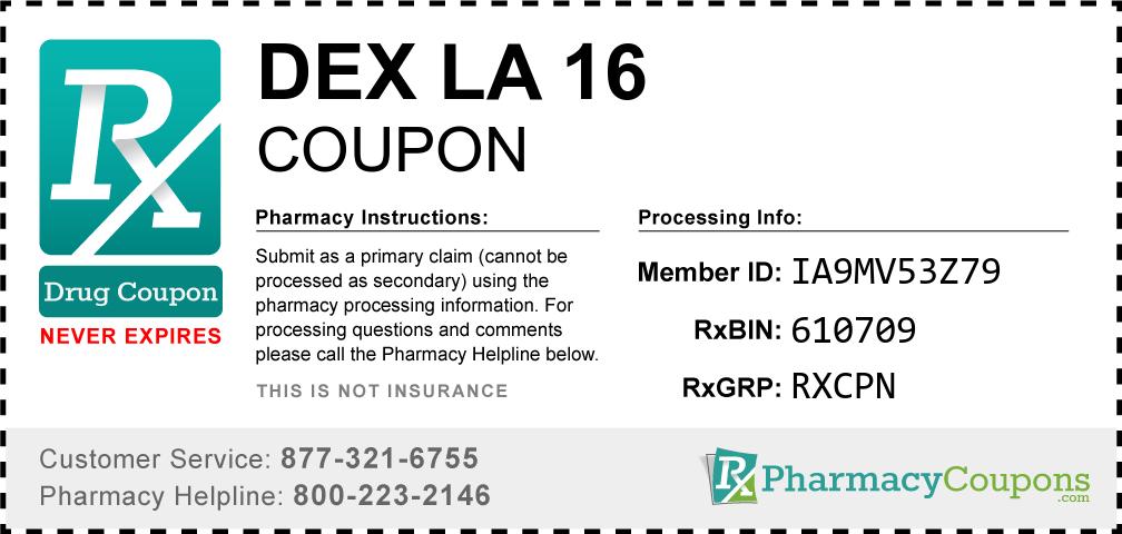 Dex la 16 Prescription Drug Coupon with Pharmacy Savings