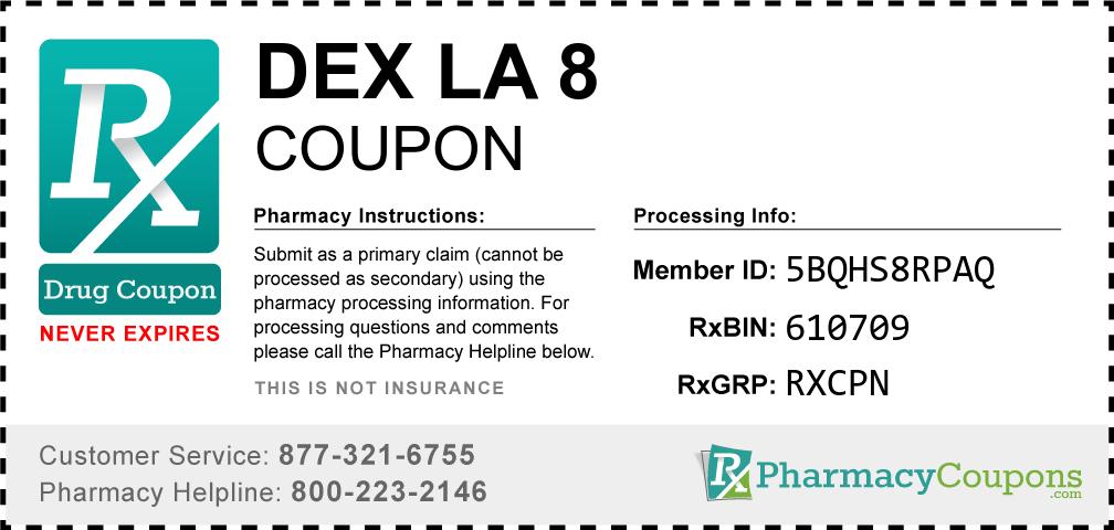 Dex la 8 Prescription Drug Coupon with Pharmacy Savings