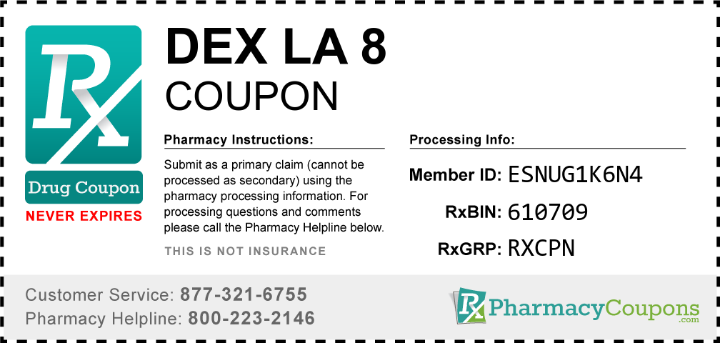 Dex la 8 Prescription Drug Coupon with Pharmacy Savings