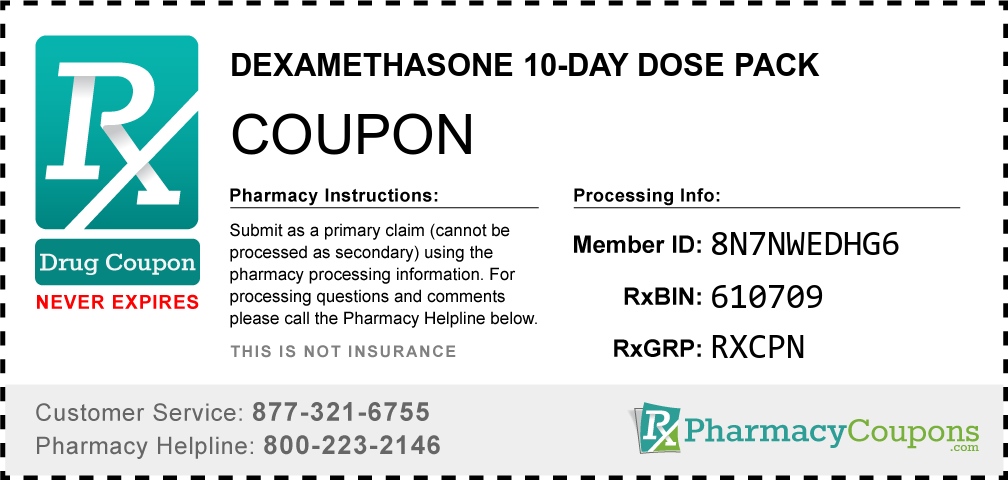 Dexamethasone 10-day dose pack Prescription Drug Coupon with Pharmacy Savings