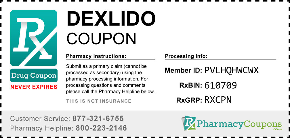Dexlido Prescription Drug Coupon with Pharmacy Savings