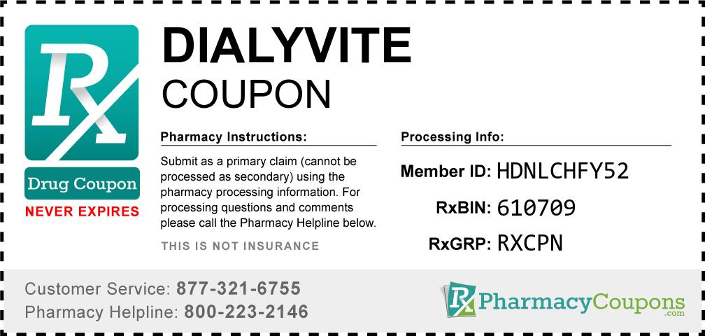Dialyvite Prescription Drug Coupon with Pharmacy Savings