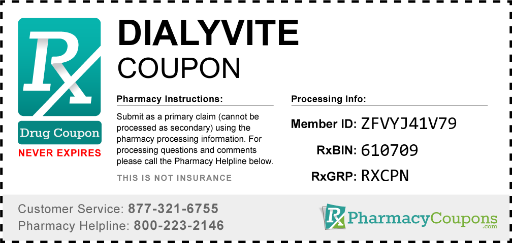 Dialyvite Prescription Drug Coupon with Pharmacy Savings